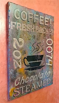 Vintage Rustic Distressed Finish Coffee Sign Andover