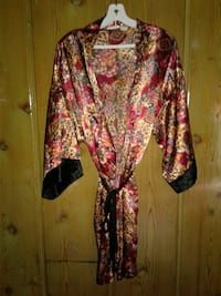 women's red and brown floral robe