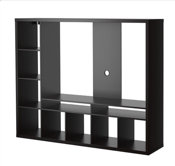 Black wooden television hutch
