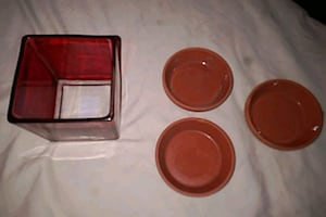 One square red glass ie candle holder/candy dish