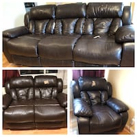 Reclining leather couch set: sofa, loveseat, recliner  Annandale, 22003
