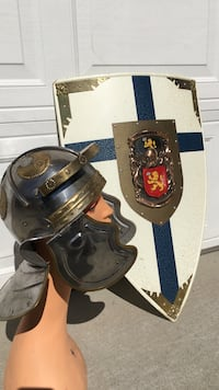 King Arthur battle helmet and shield for a holiday fest Milpitas, 95035