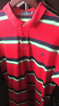 red, green, and black striped Ralph Lauren polo shirt Hamilton, L0R 1W0