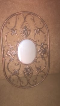 oval mirror with gray steel frame Campbell, 95008