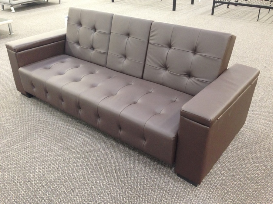 New Adjule Sofa Bed Futon Sleeper Couch Drop Down Console