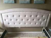 Cream colour fabric queen size bed frame  London, N6C 4P9