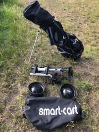 Fold away sturdy golf cart. 2 available $45 each or $70 the pair.  One has bag with the seam coming apart. Not needed at all Lake Country, V4V 1H4