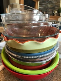 green and brown ceramic plates