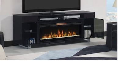 Black Fireplace TvStand