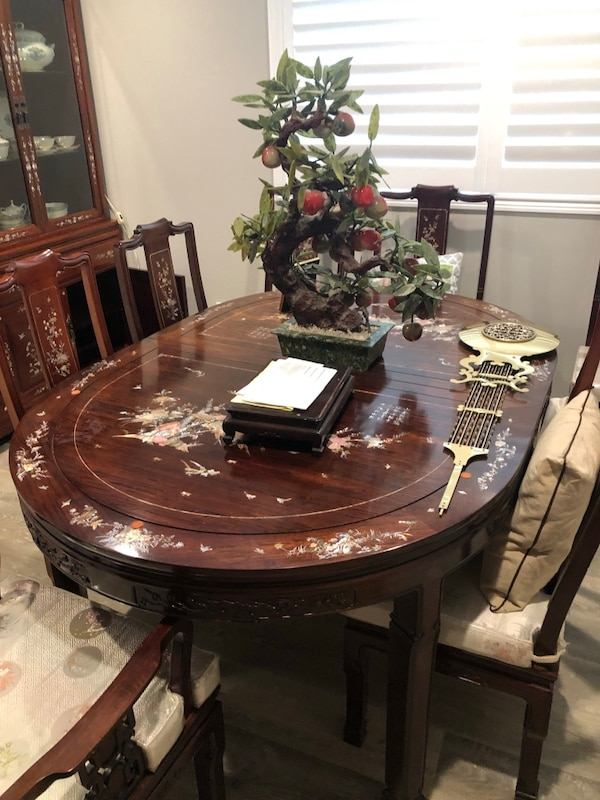 Chinese Rosewood Dining Table 8 Chairs