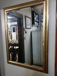 "29""x39"" Gold color wood framed wall mirror"