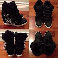 Women's pair of black spiky hidden wedges shoes Burnaby, V5B 2Z8