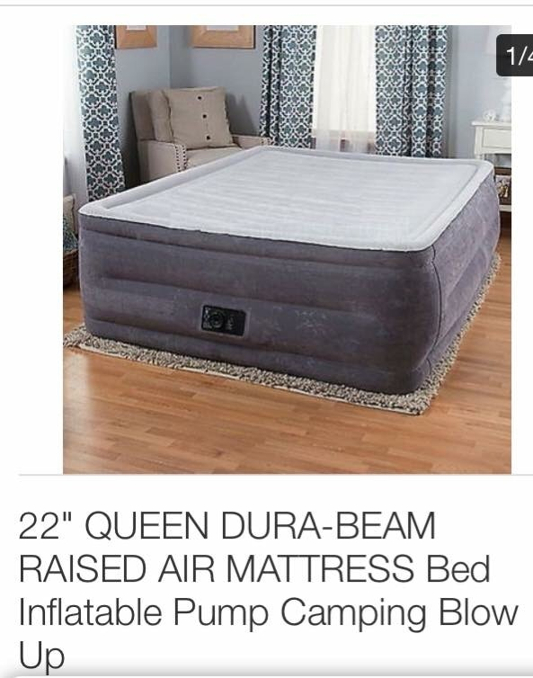 """NEW 22/"""" QUEEN DURA-BEAM RAISED AIR MATTRESS Bed Inflatable Pump Blow Up NEW"""