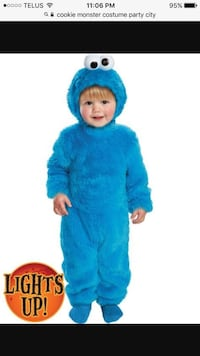 12 month Cookie Monster Halloween costume. Light up eyes.