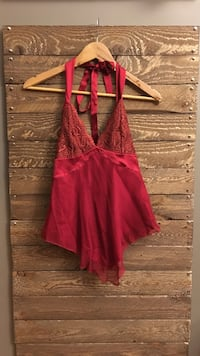 Womens Top (BEBE) Red lace halter