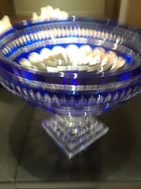 blue and clear glass bowl MISSISSAUGA