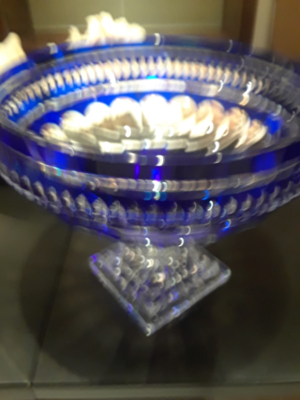 blue and clear glass bowl