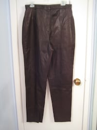 Brown Leather Lined Slacks - Nygart Collection - New - S14
