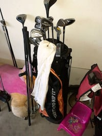 Golf club set with caddy and bag