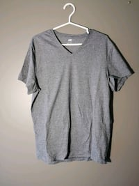 H&M V-neck tee - grey/blue