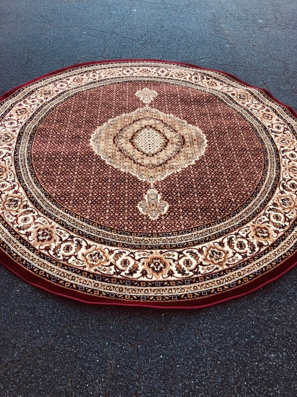 New Turkish Round rug size 8x8 circle carpet red burgundy Persian rugs 355c2f4d-2784-495a-a282-71ffc89857f1