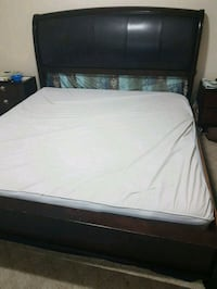 white mattress and black wooden king size bed Mississauga, L5M 3Y4
