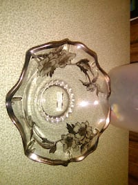 Clear glass bowl with black and silver flowers  Cleveland, 37323