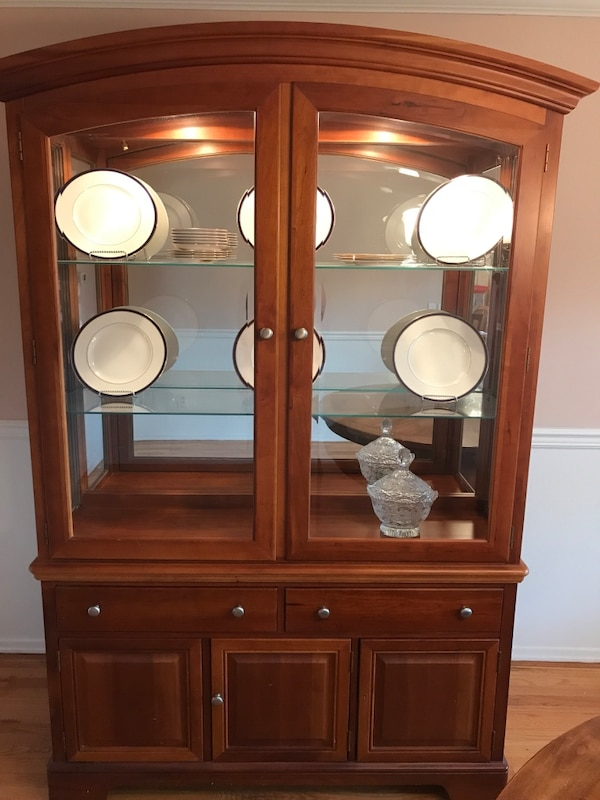 Used Pristine Solid Cherry Wood And Gl China Cabinet For In New Rochelle