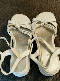 pair of white leather open-toe sandals Clear Brook, 22624