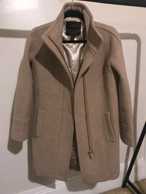 5d2d631837a4 Used J.CREW Stadium Cloth Cocoon Coat in Sandstone