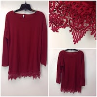 Maroon scoop-neck long-sleeve shirt brand new