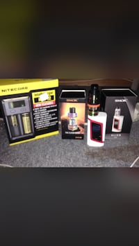 White and red Smok Alien variable box-mod vape with box