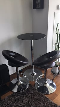 two black leather bar stools Mississauga, L5M