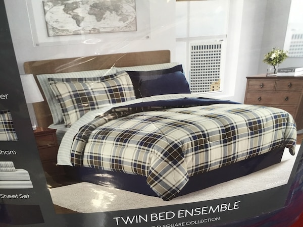 White brown and black twin bed ensemble