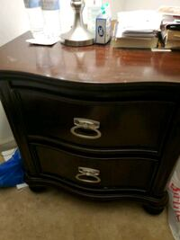 Queen bed, night stand and 6 draws dresser