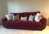 Clean and Comfortable Deep Red Chenille Sofa Washington, 20006