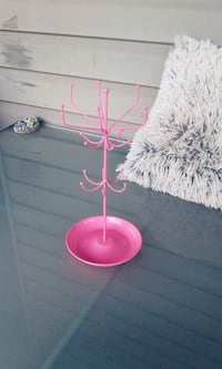 pink steel accessory rack
