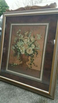 square silver frame painting of white and pink flower arrangement Knoxville, 37919