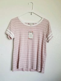 pink and gray stripe scoop-neck t-shirt