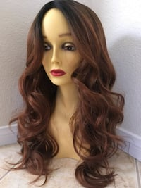 Dark brown ombré dark roots 26 inch long wavy layered curly wig silk smooth texture comes in 4 colors