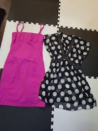 women's pink and black-and-white dress