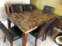 Dining set (table, six chairs, cabinet, and wall mirror) OTTAWA