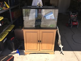 30 gallon fish tank with stand and supplies/decor