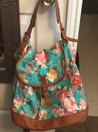teal, pink, and green floral bucket bag Monroe, 71203