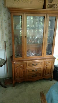 brown wooden framed glass display cabinet Andover, 07821