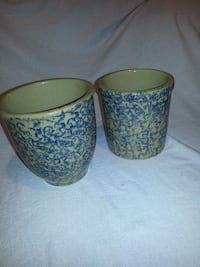 Two Blue Splatterware Crocks null