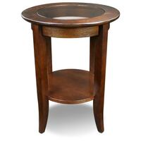 Pair of Solid Wood Round Glass Top End Tables - Chocolate Oak Finish AUSTIN