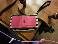 women's white, black, and pink leather wristlet San Antonio