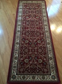 Red and white grey floral area rug