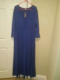 V neck Blue maxi dress